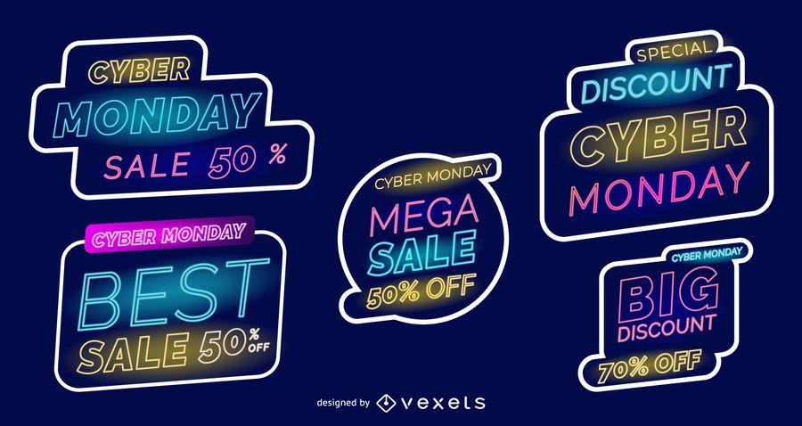 Cyber monday neon labels set