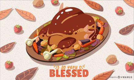 Ilustração de jantar de ação de Graças