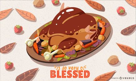 Thanksgiving dinner illustration