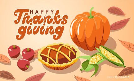 Happy thanksgiving illustration