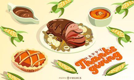 Ilustración de comida de acción de gracias