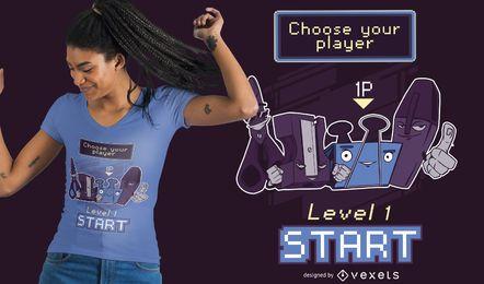 Escolha o design da camiseta do jogador de escritório