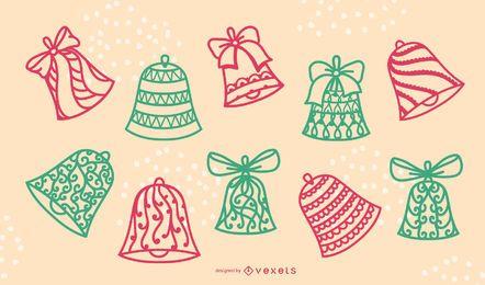 Conjunto de trazos de campanas de Navidad