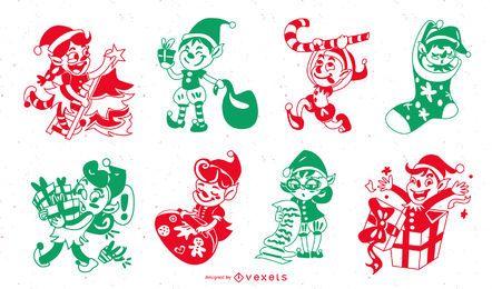 Pack de silueta de personajes navideños