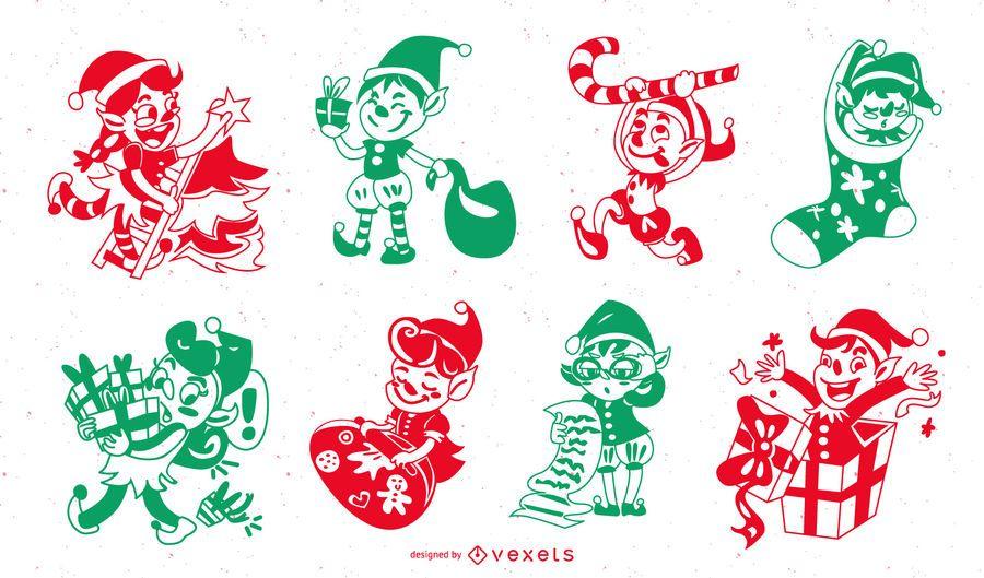 Pacote de silhueta de personagens de Natal