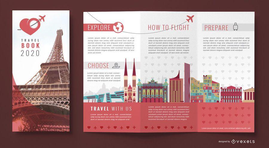 Folleto plantilla de agencia de viajes