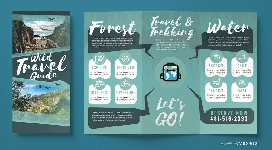 Plantilla de folleto de agencia de viajes salvaje