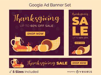 Conjunto de banners de anuncios de Google de acción de gracias