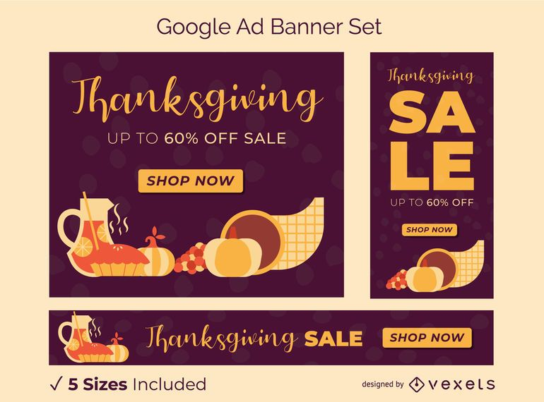 Thanksgiving Google Ad Banner Set