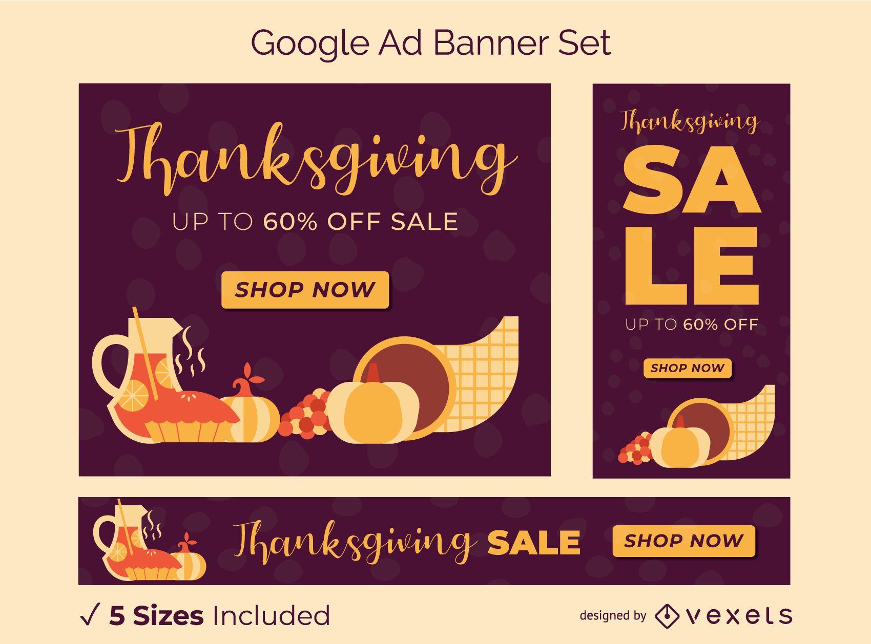 Conjunto de banners publicitarios de Google de acción de gracias