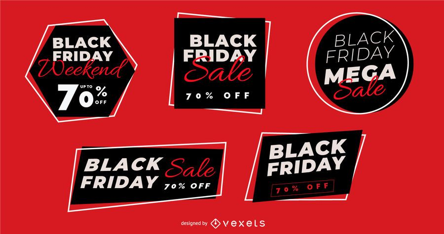 Coleção de distintivo de venda sexta-feira negra