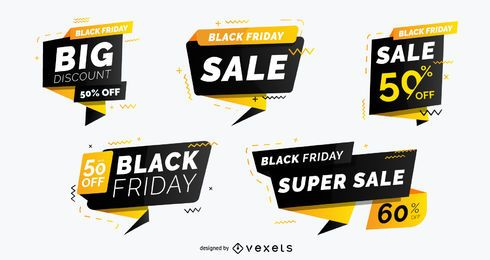 Pacote de emblema de venda de sexta-feira negra