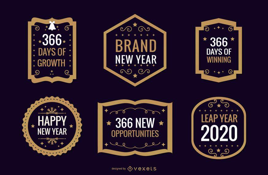 Coleção de distintivos de ano novo 2020
