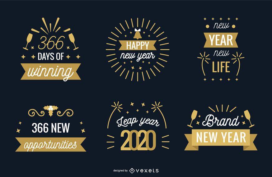 Set de insignias de año nuevo 2020