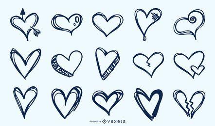 Coleção de corações mão desenhada