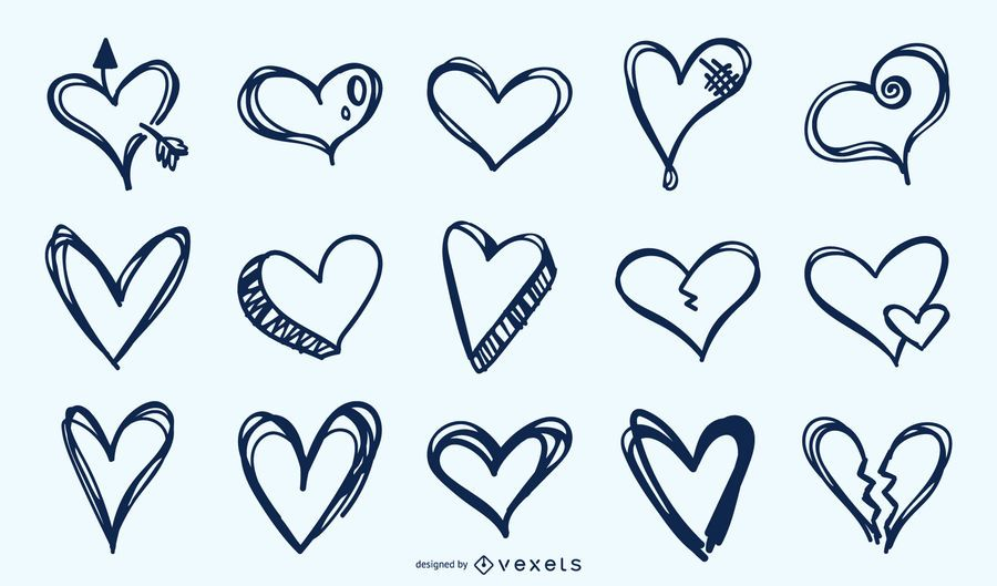 Hand drawn hearts collection
