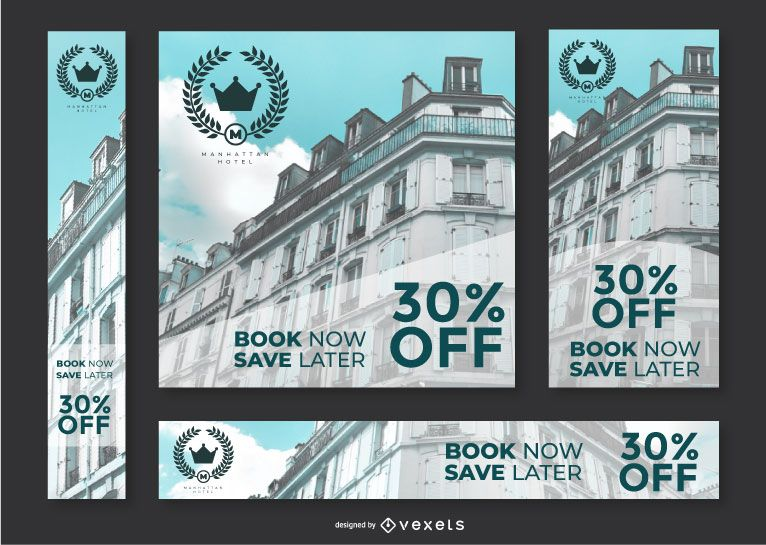 Hotel ad banners set