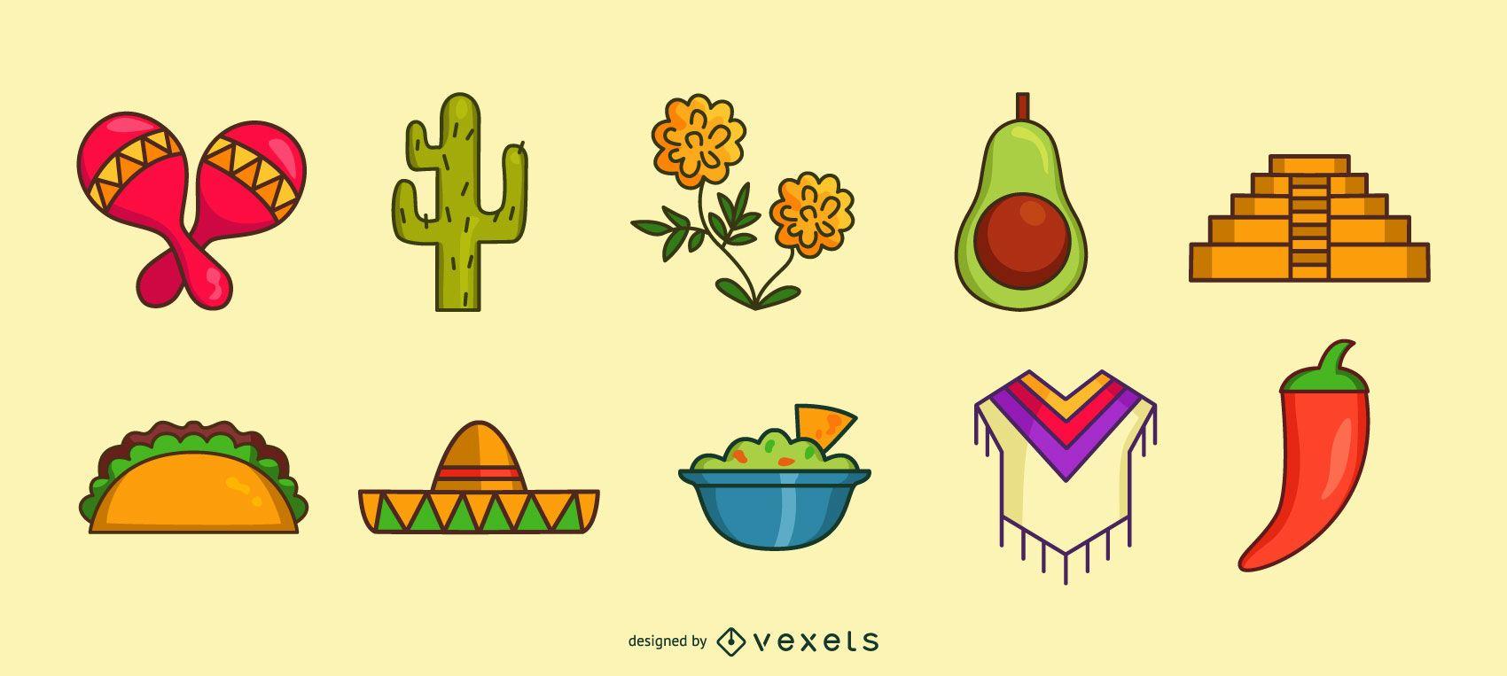 Conjunto de iconos de color mexicano