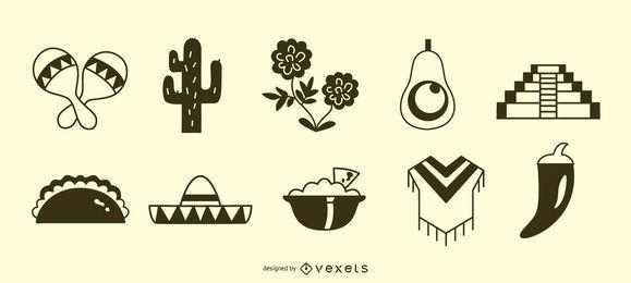 Conjunto de silhueta de ícone mexicano