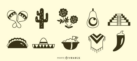 Conjunto de silhueta de ícones mexicanos