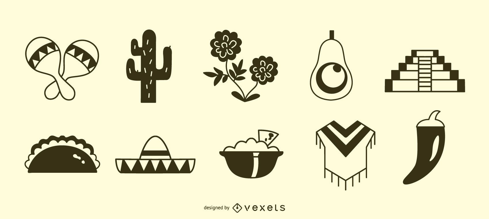 Conjunto de silueta de icono mexicano