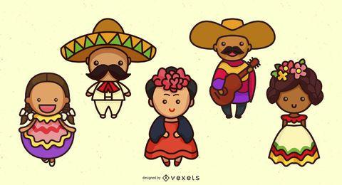 Conjunto bonito de caracteres mexicanos