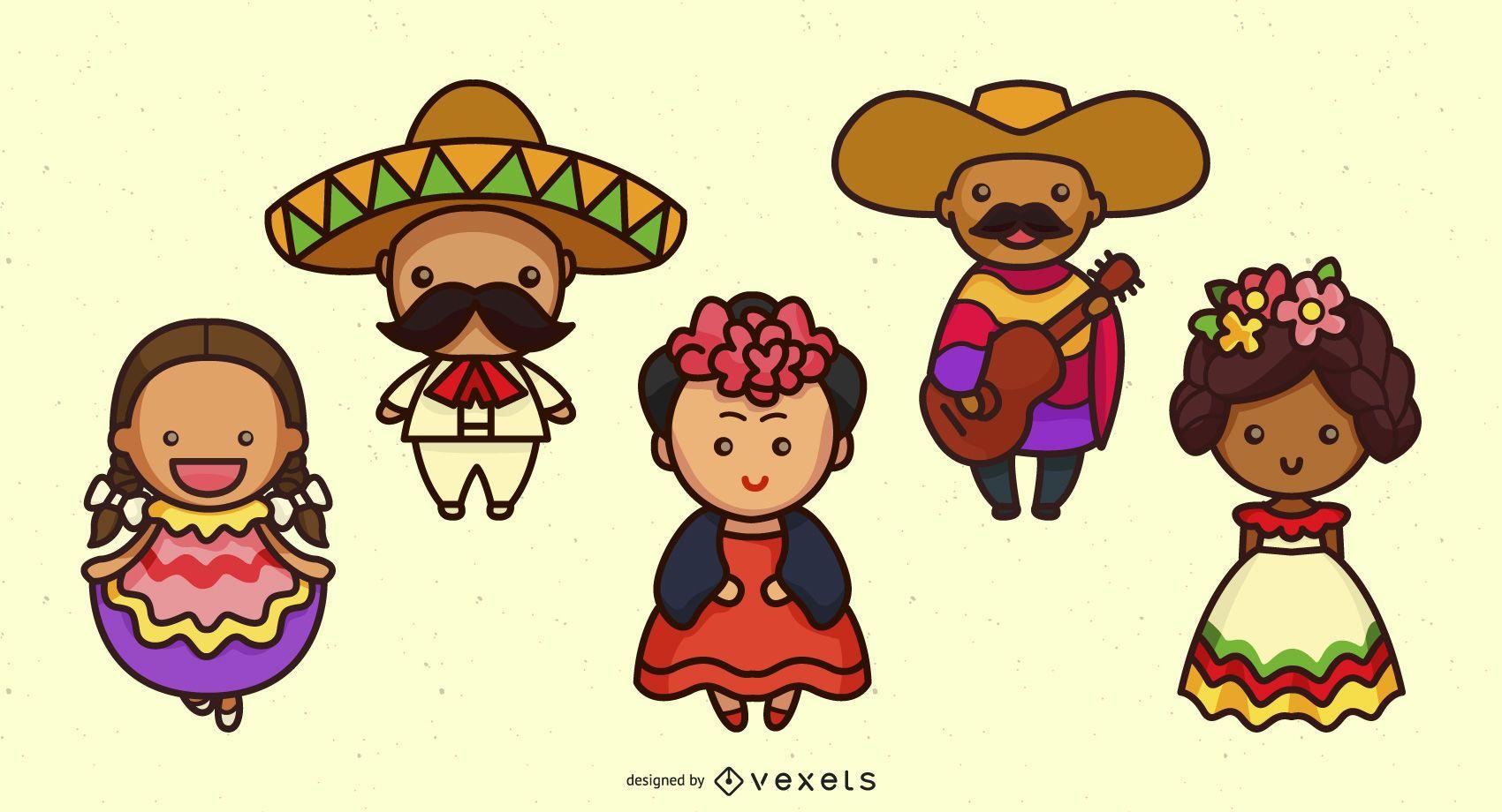Conjunto lindo de personajes mexicanos