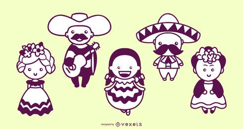 Mexican characters cute stroke set