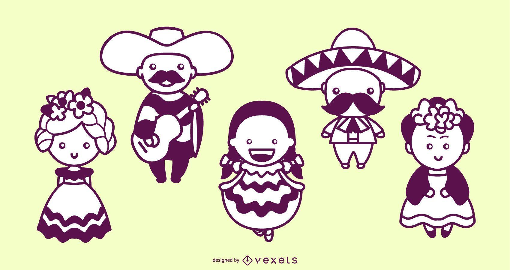 Conjunto de trazos lindos personajes mexicanos