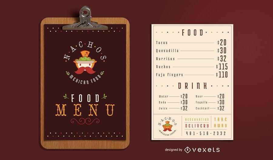 Modelo de menu de comida mexicana