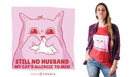 Diseño de camiseta divertida de gato alérgico