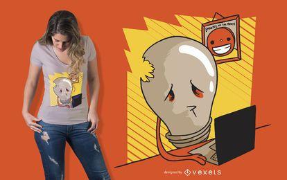 Diseño de camiseta de bombilla triste