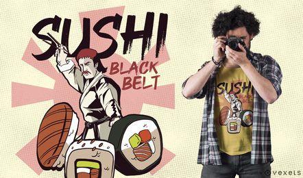 Sushi-Schwarzgurt-lustiger T-Shirt Entwurf