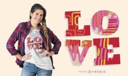 Design de t-shirt de palavra de amor