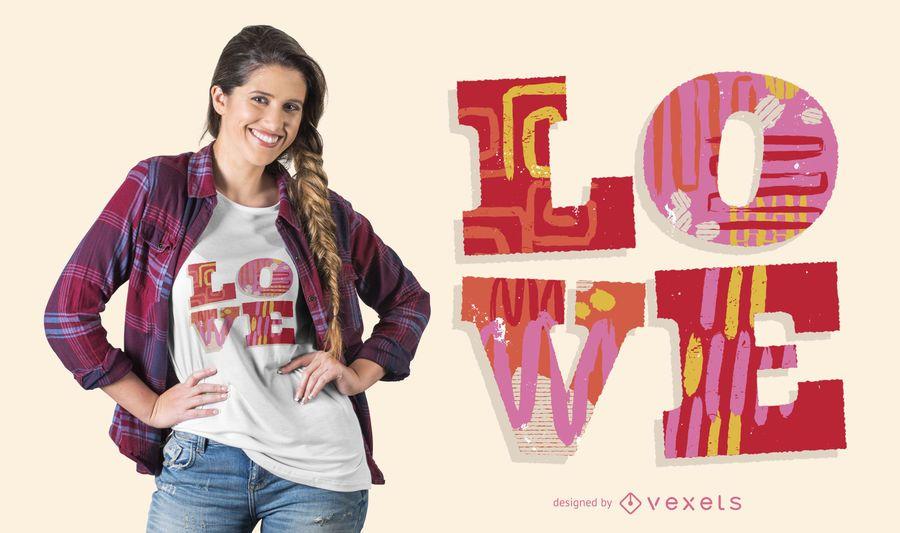 Liebes-Wort-T-Shirt Entwurf