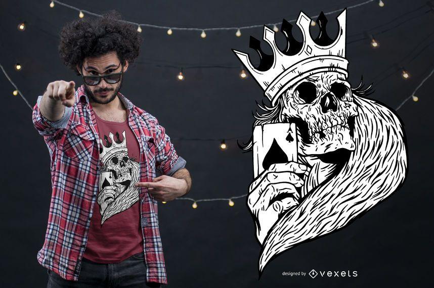 Diseño de camiseta de Skeleton King Poker