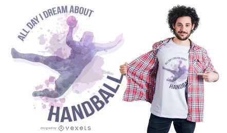 Design de camiseta com citações de handebol