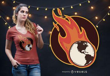 Projeto do t-shirt da terra do aquecimento global
