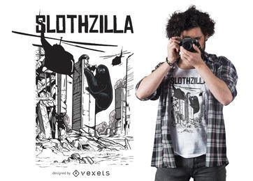 Design engraçado do t-shirt de Slothzilla