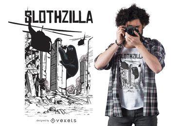 Diseño de camiseta divertida Slothzilla