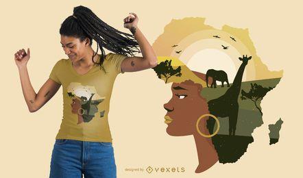 Design de t-shirt de cabelo de mulher África