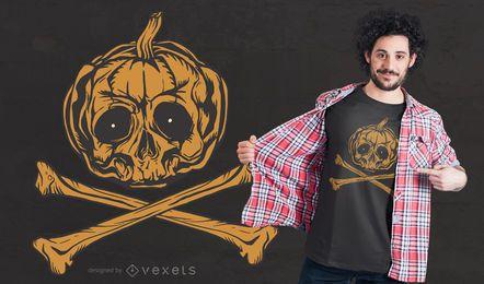 Kürbis-Piratenflagge-T-Shirt Entwurf
