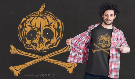 Pumpkin Jolly Roger T-shirt Design