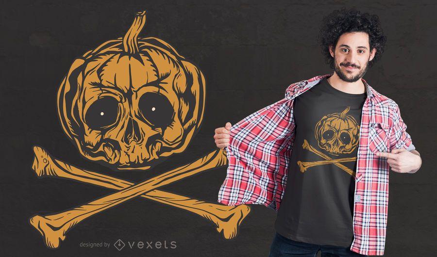 Pumpkin Jolly Roger T-shirt Design