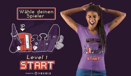 Diseño de camiseta alemana de personajes de material escolar