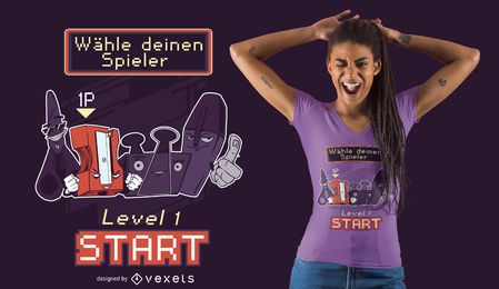 Diseño de camiseta alemana de personajes de útiles escolares