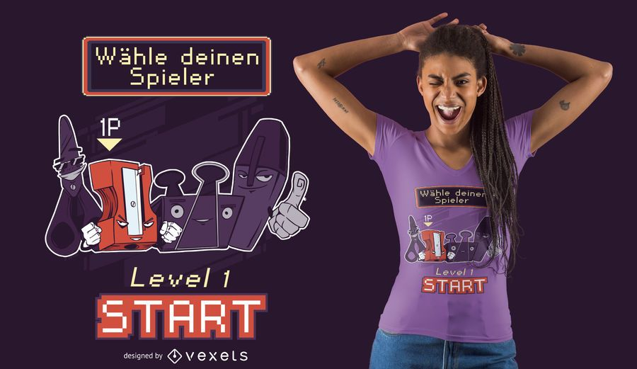 School Supply Characters German T-shirt Design