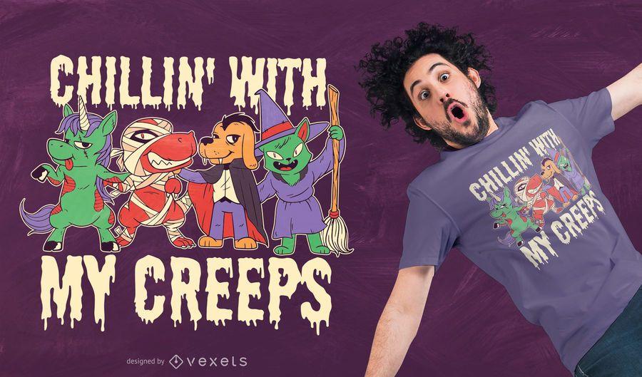 Diseño de camiseta de animales de Halloween