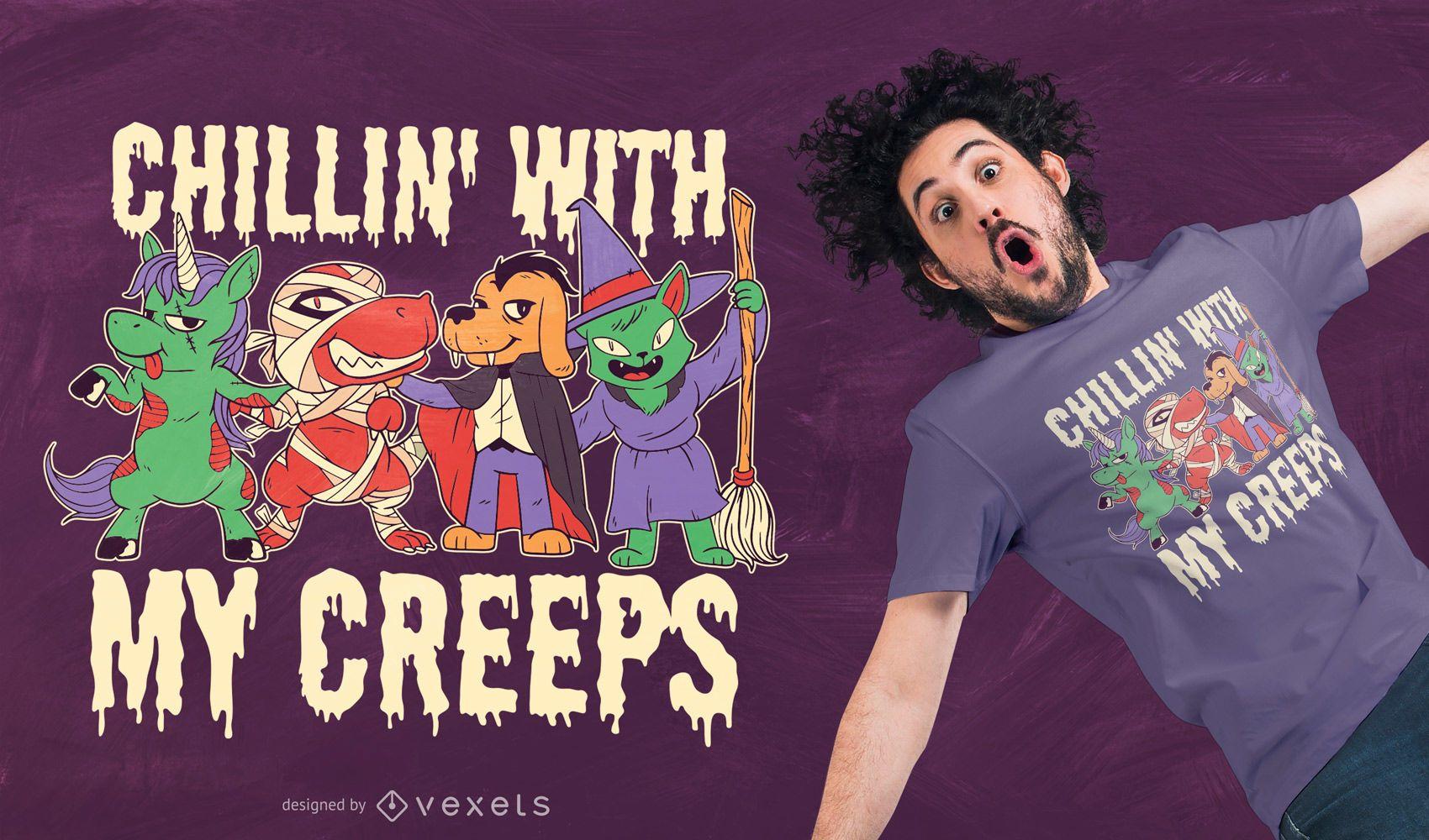 Halloween Animals T-shirt Design