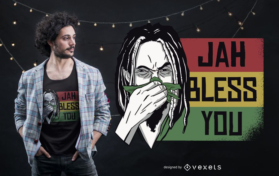 Diseño de camiseta Jah Bless You Rastafari